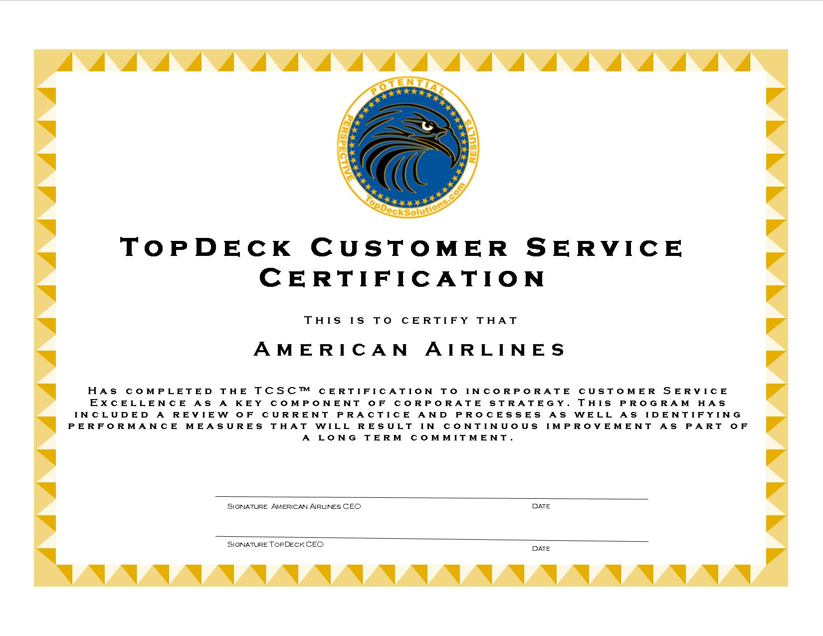 certification service customer topdeck solutions tcsc